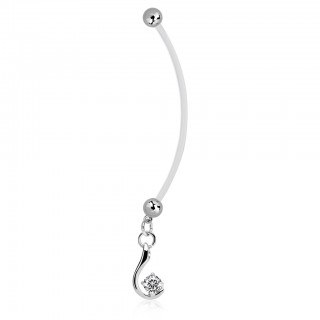 Bioflex belly ring with dangling crystal on silver pendant