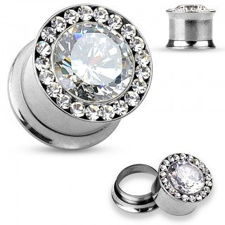 Fancy plug piercing with large stone surrounded by small crystals