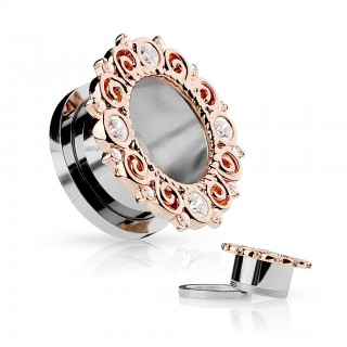 Tunnel with rose gold rim and gemstones