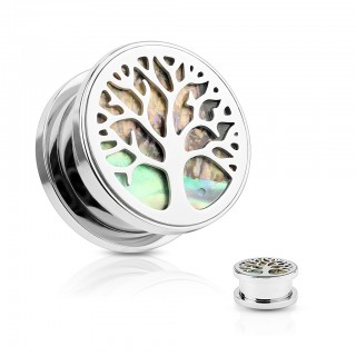 Screw fit plug with abalone stone under tree