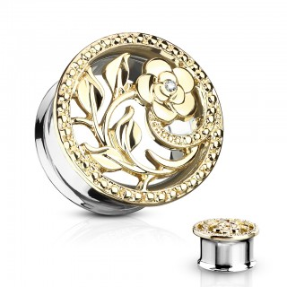 Double flared tunnel with flower cut out - 16 mm - Gold
