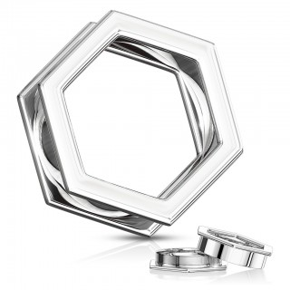 Silver coloured hexagon shaped screw fit tunnel