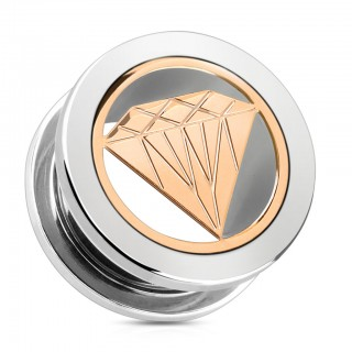 Screw fit tunnel met rosé gouden diamant