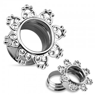 Tribal hearts filigree steel screw fit tunnel piercing
