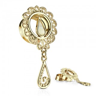 Gold coloured screw fit tunnel with tear drop dangle
