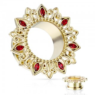Coloured screw fit tunnel with lotus flower rim