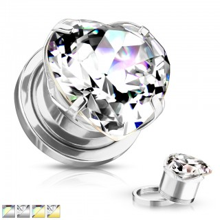 Coloured screw fit tunnel with heart shaped crystal