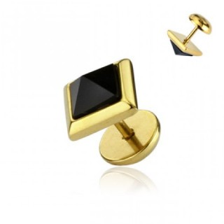 Gold fake plug with pyramid square onyx stone