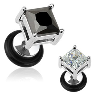 Fake plug with square-cut jewel