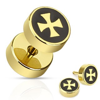 Gold plated fake plug with cross print