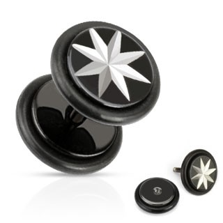 Black fake plug with star print