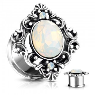 Double flared tunnel with opal stone encased in filigree square