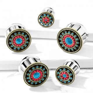 Double flared plug piercing with turquoise enamel aztec sun