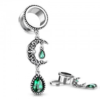 Tunnel piercing with dangling filigree moon and green gem