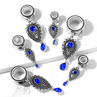 Tunnel piercing with dangling tear drop charm with blue gem