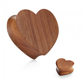 Heart shaped red cherry wood saddle fit plug