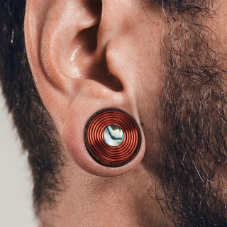 Sono wood saddle fit plug with copper wire and pearl