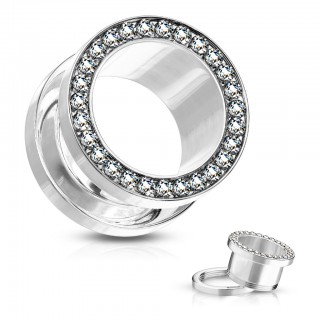 Steel screw fit tunnel with bejeweled rim in colours