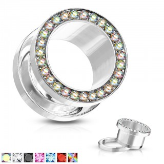 Steel screw fit tunnel with coloured crystals in rim