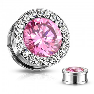 Multi-jeweled plug piercing with large faceted gem