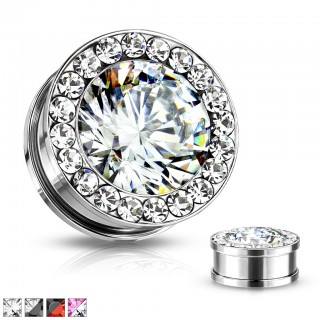 Plug with multi crystals and big faceted gem