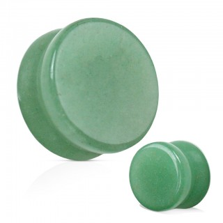 Saddle fit plug of natural green jade stone