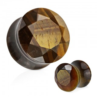 Saddle fit plug of faceted tiger eyestone