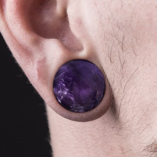 Single flared plug of amethyst stone with O-ring