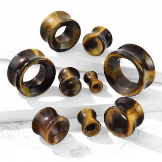 Saddle fit tunnel made of tiger eye stone