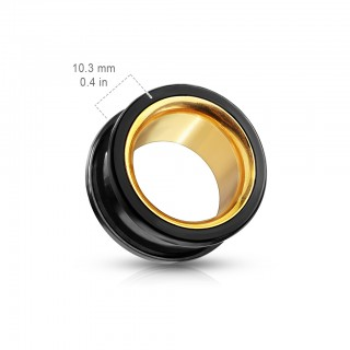 Black and Gold double flared screw fit tunnel