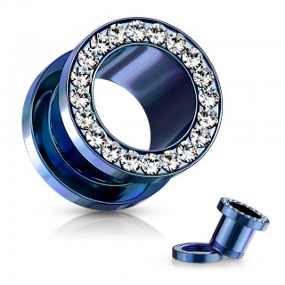 Titanium coloured screw fit tunnels with crystals