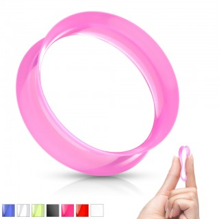 Coloured saddle fit ear tunnel with soft flexible silicone