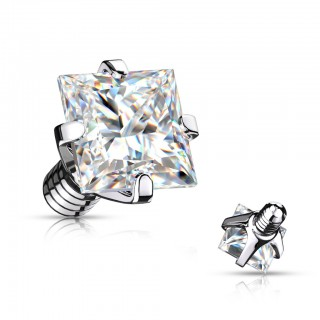 Internally threaded piercing top with prong set square crystal