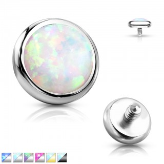 Internally threaded piercing disc top with bezel opal stone