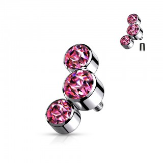 Internally threaded piercing top of triple round crystals - 1.6 mm – Pink
