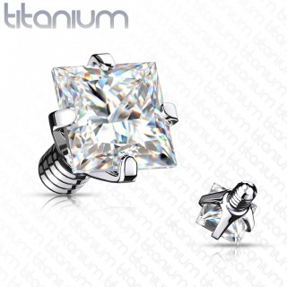 Internally threaded titanium top with prong set square crystal
