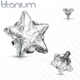 Internally threaded titanium top with prong set star crystal
