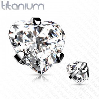 Internally threaded titanium top with prong set heart crystal