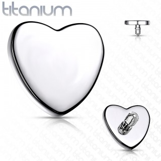 Internally threaded flat heart top of solid titanium