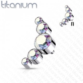 Internally threaded titanium piercing top of five round crystals