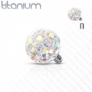 Internally threaded solid titanium piercing ball with epoxy crystals