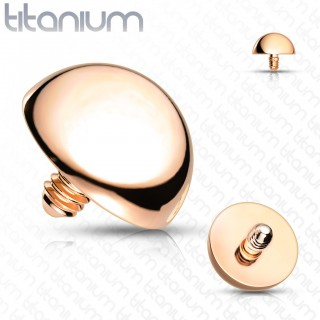 Internally threaded coloured dome top of solid titanium