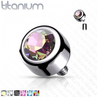 Internally threaded titanium piercing top with Swarovski crystal