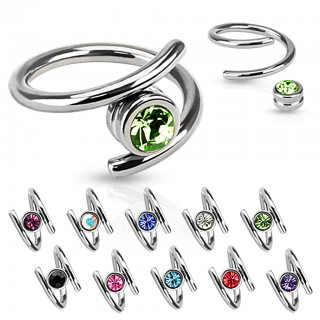 Twisted ball closure ring with coloured diamond