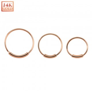Solid 14 kt. rose gold nose ring with bar