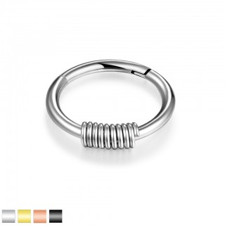 Piercing ring with attached segment and coloured spring dangle