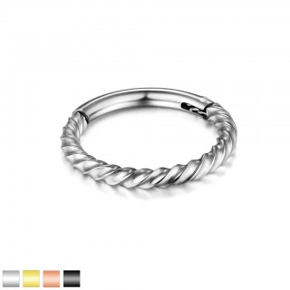 Coloured piercing ring with attached segment and twisted bar