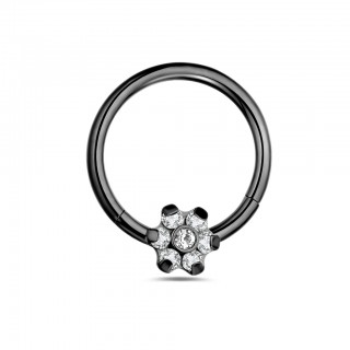 Coloured piercing ring with flower on attached segment