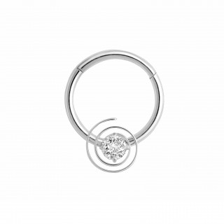 Piercing ring with attached segment and swirl crystal
