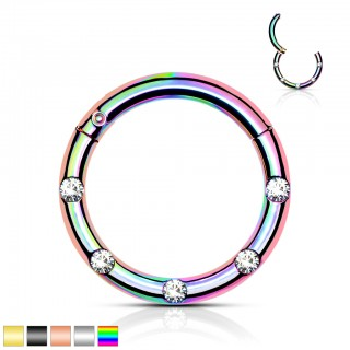 Coloured Hinged Segment Ring with 5 front-facing crystals
